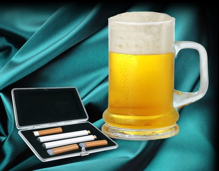 Electronic cigarette and beer photo
