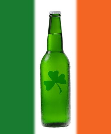 Green beer with Irish flag for St Patricks Day photo