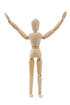 Wooden mannequin with arms up isolated on white background Stock Photo - 6435720