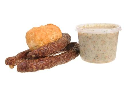 oscypek: Tradiional Polish food isolated on white background Stock Photo
