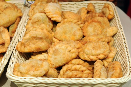 Delicious dumplings in a basket photo