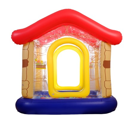inflatable: Inflatable toy house filled with plastic balls