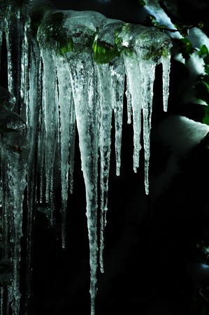 icicle: Icicles on black background Stock Photo