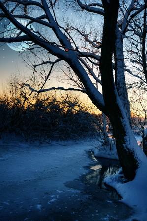 january sunrise: Atardecer de invierno por un r�o congelado con la Luna y las estrellas