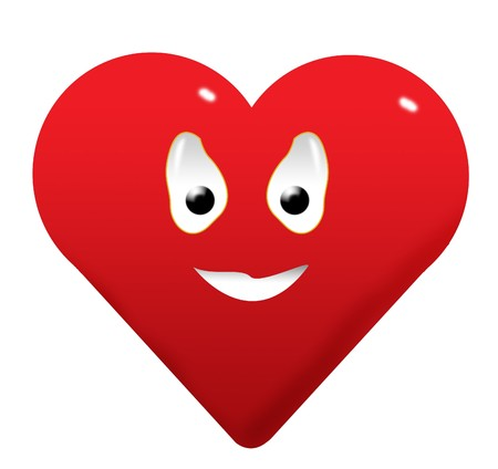 Happy red heart smiley photo
