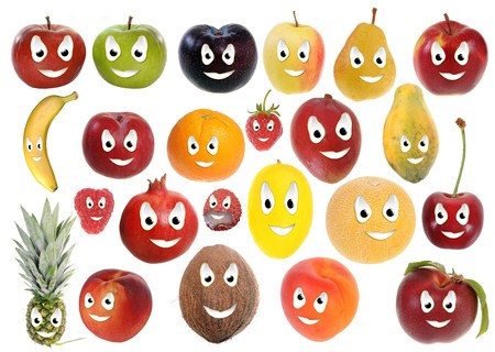 apricots: Assortment of happy fruit smileys isolated on white background Stock Photo
