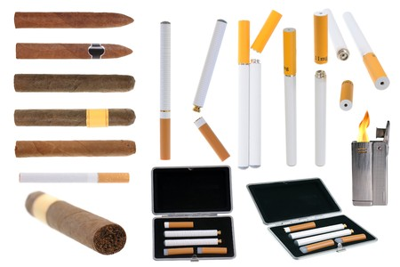Assortment of tobacco products electronic cigarette and lighter isolated on white background photo