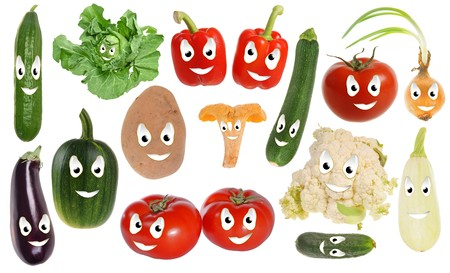 courgette: Assortment of happy vegetable smileys isolated on white background Stock Photo