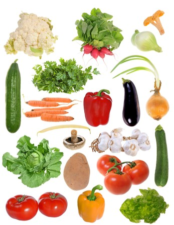 Assembling of delicious fresh vegetables isolated on white background photo