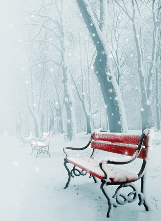 neige qui tombe: Rang�e de banquettes rouges dans le parc dans la neige en hiver