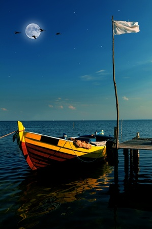 Empty boat by the sea in moonlight photo