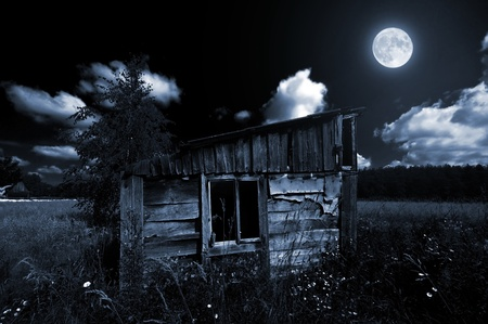 Old wooden shed in the countryside at night in moonlight photo