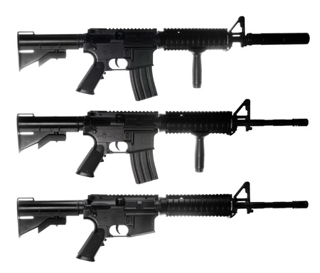 M4 assault rifles isolated on white ackground photo