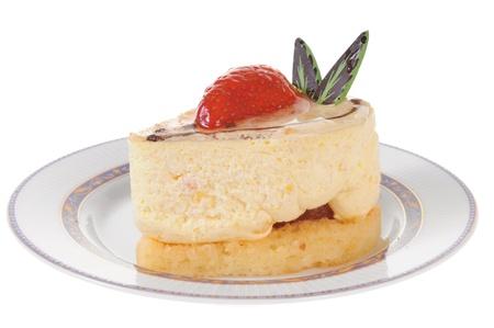 Delicious strawberry cheesecake isolated on white background photo
