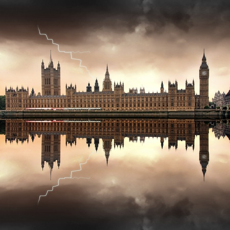 parliament: London - The Houses of Parliament with Big Ben dark clouds and a lightning