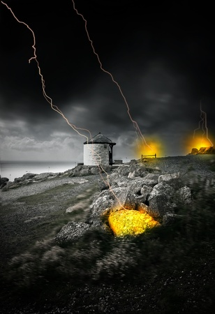 causing: Lightning strikes from dark cloudy sky causing fires