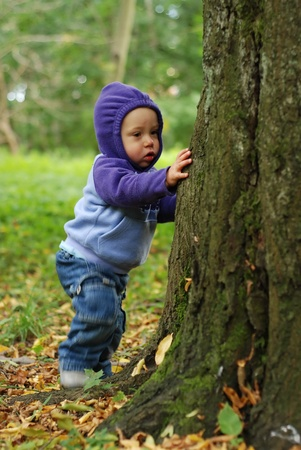 Happy toddler playing in the park in autumn Stock Photo - 10412439
