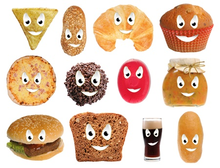 karbonhidrat: Happy food smileys isolated on white background