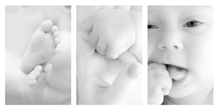 Three shots of cute details of a baby   photo