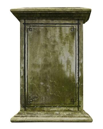 Vintage gravestone isolated on white background photo