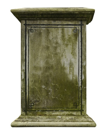 tumbas: Vintage l�pida aislada sobre fondo blanco