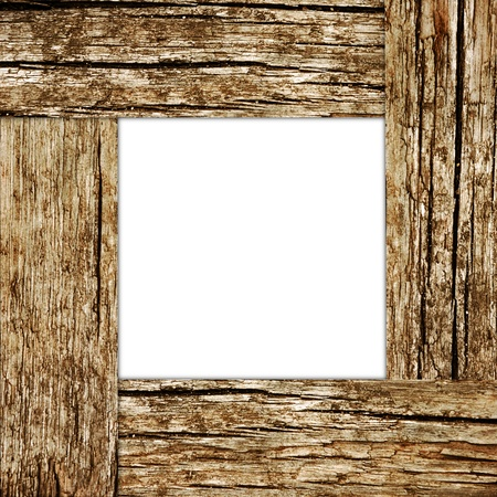 Old vintage wooden frame with blank space inside photo