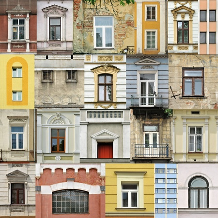 window panes: Assembling of different windows in different architectral styles Stock Photo
