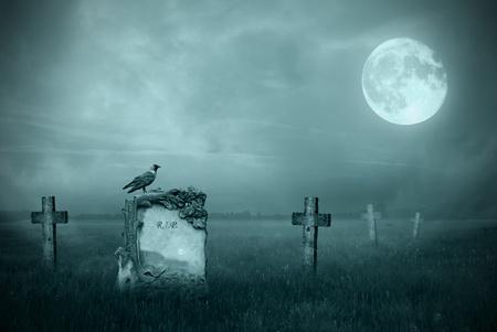 tumbas: Cuervo sentado en una lápida en la luz de la luna