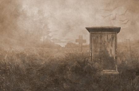 cementerios: l�pida en la luz de la luna de fondo vendimia