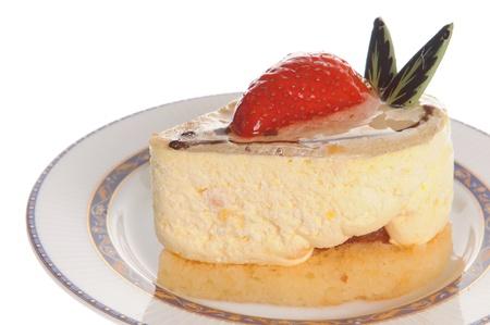 Delicious strawberry cheesecake isolated on white background Stock Photo - 11889918