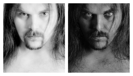 Two different portraits of a man with long hair in high and low key photo