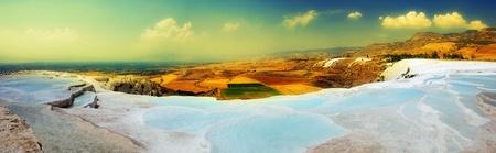 travertine: Travertine pools and terraces panorama, Pamukkale, Turkey