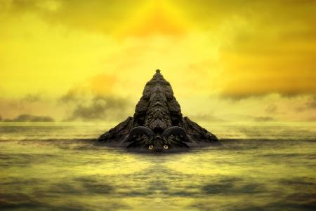 dragon swim: Fantasy stone golem