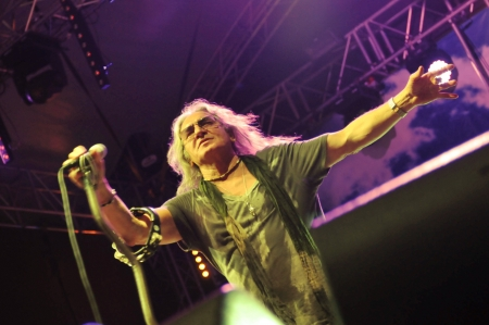 SIEDLCE, POLAND - JUNE 09: Grzegorz Markowski of Perfect performs on stage at Siedlecki Rock Open Air Festival on June 09, 2012 in Siedlce, Poland