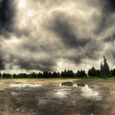 Dark clouds and a lightning storm