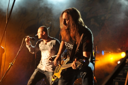 SIEDLCE, POLAND - SEPTEMBER 29: Pawel Malaszynski and Cochese perform on stage at Rockfest on September 29, 2012 in Siedlce, Poland