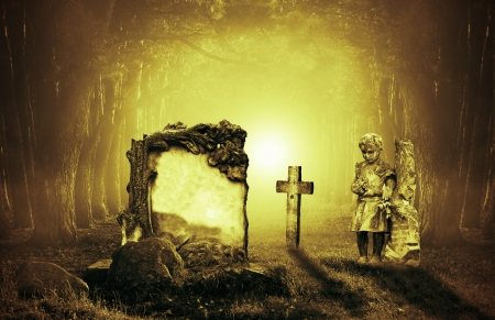 Old graves in a forest at night Stock Photo - 15543844
