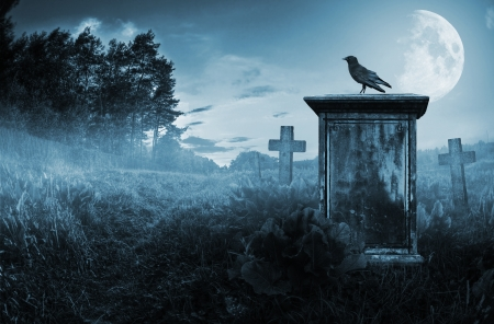 eerie: Crow sitting on a gravestone in moonlight Stock Photo