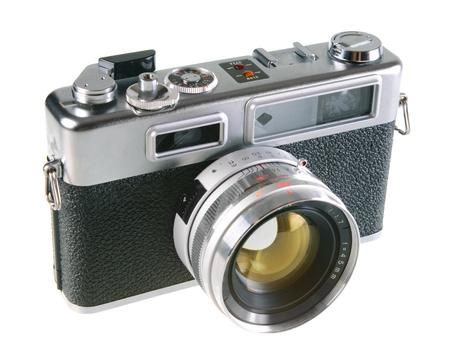 rangefinder: Vintage film rangefinder camera isolated on white background