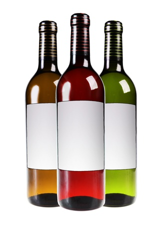 Red and white wine bottles isolated on white background photo