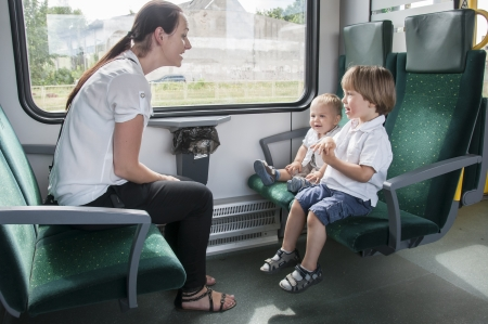Mother and children on the train