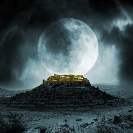 fortification: Fantasy stronghold on a hill with full moon