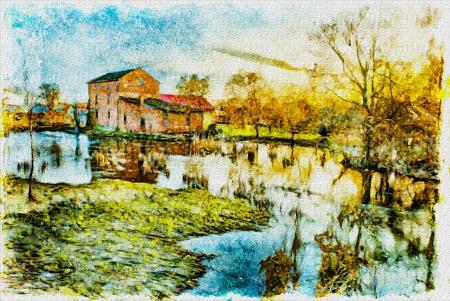 川で古いレンガ工場 写真素材