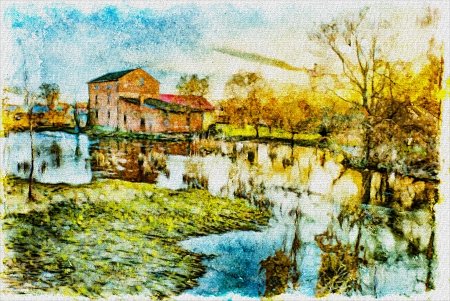 redbrick: Old redbrick mill by the river