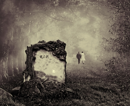 spooky graveyard: Wedding couple walking away from a grave in a forest Stock Photo