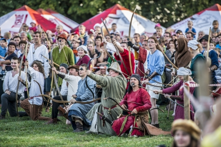 LIW, POLAND 17 AUGUST: Members of Medieval Reinactment Order fight in Liw Tournament on 17 August 2013 in Liw, Poland