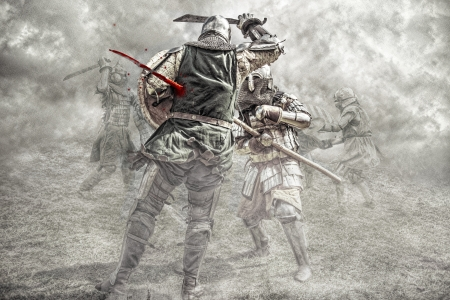 knight armor: Medieval knights fighting in a battle