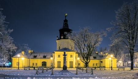 Town Hall in Siedlce, Poland in winter at night