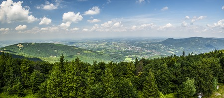 Mountain panorama from the top of Czantoria in Beskidy, Poland