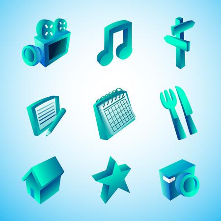 three dimension: Icon in three dimension